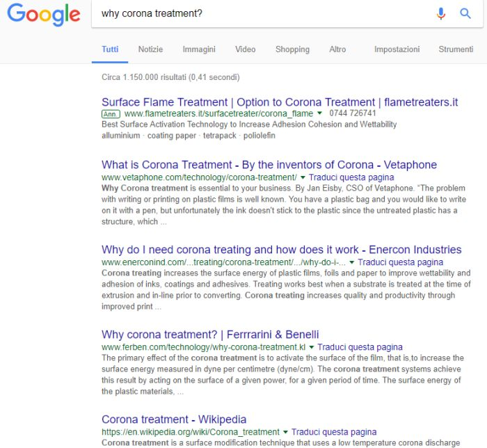 Why corona treatment?